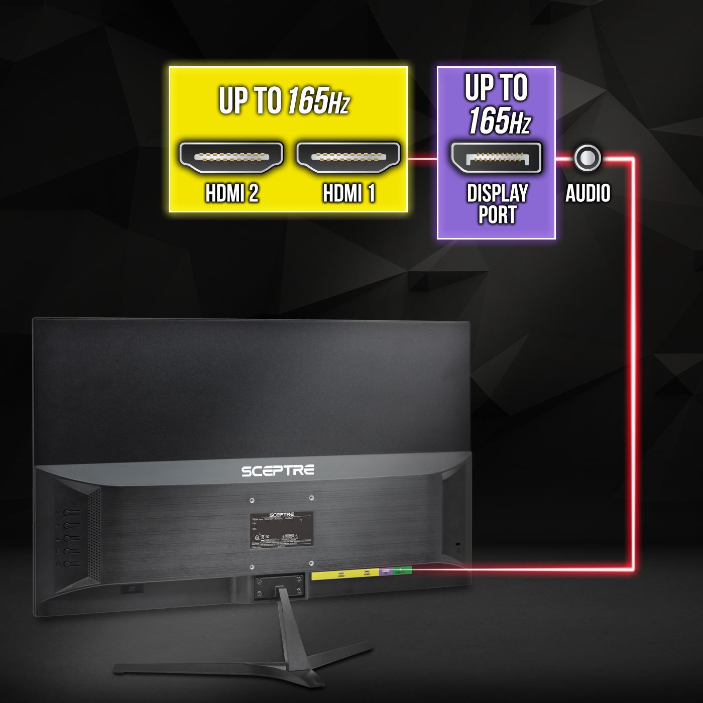 Metallic Black Sceptre E255B-1658A 25 165Hz 144Hz 1ms AMD FreeSync gaming LED Monitor 2x HDMI 2.0 1x DisplayPort RTS FPS Build-in Speakers Machine Black